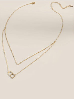 Metal Double Chain Gold Initial Necklace
