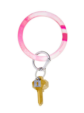 Tickled PInk Marble Big O Key Ring