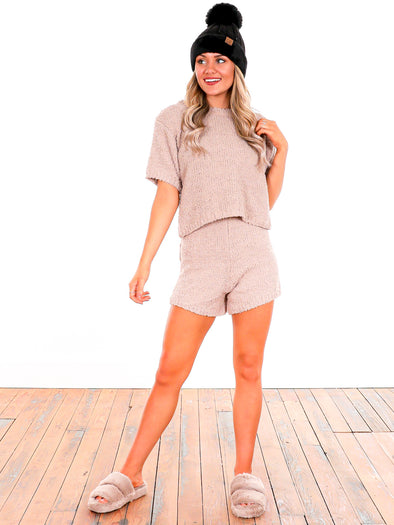 Oh So Comfy Taupe Knit Sweater Shorts