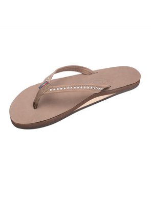 Crystal Collection Leather Sandal - Dark Brown