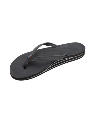 Narrow Strap Double Arch Support Leather Sandal - Premier Black