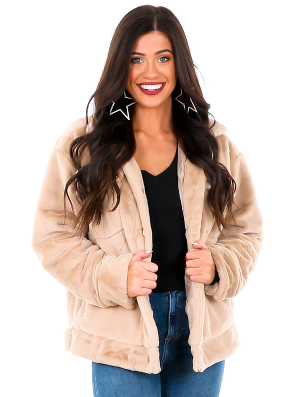 Happy Does Soft Fur Button Down Jacket