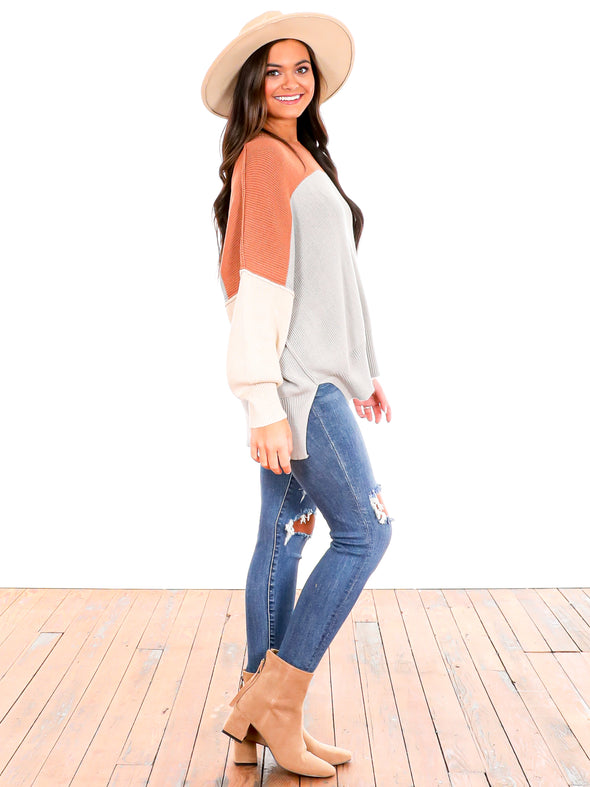 You And I Clay/Green Mint Colorblock Sweater