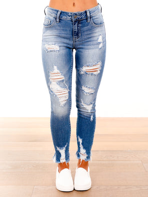 Cupid Shuffle Distressed Medium Light Denim