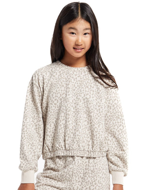 Z Supply Girls Bone Carmen Leo Long Sleeve Top