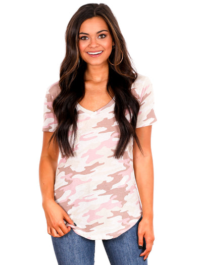 Z Supply Mauve Camo Pocket Tee