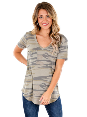Z Supply Light Sage Camo Pocket Tee