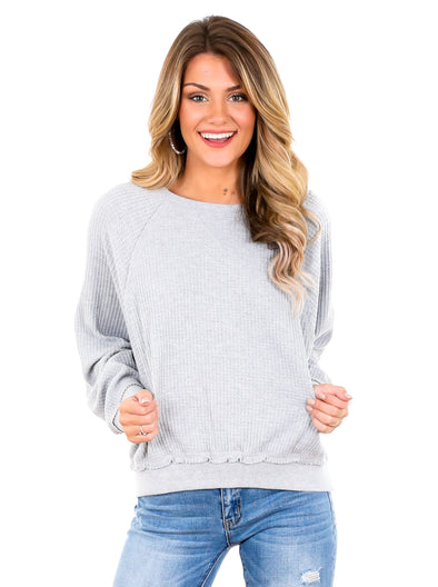 Z Supply Heather Grey Claire Waffle Long Sleeve