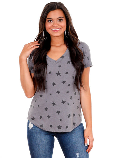 Z Supply Charcoal Easy Star V-Neck Tee