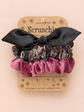 Purple Floral Velvet Scrunchies