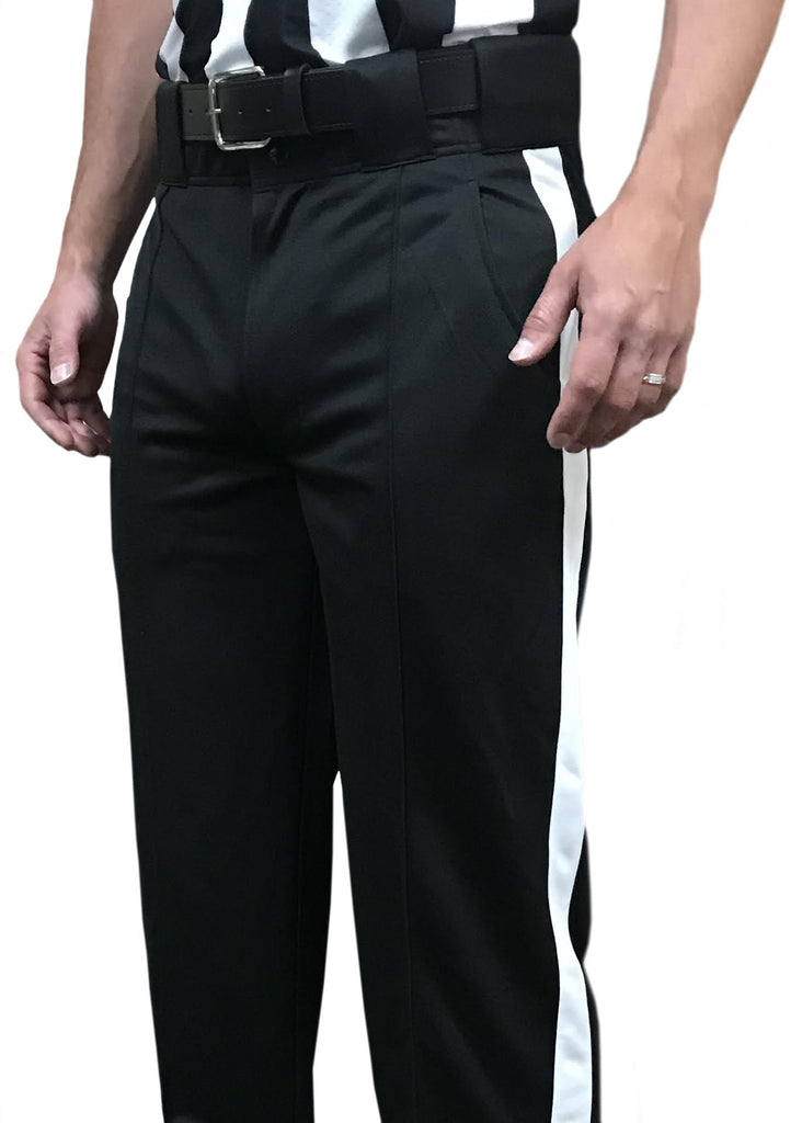 "**New** ""Tapered Fit"" FBS 185 Smitty Warm Weather Black Football Pant w/ White Stripe"