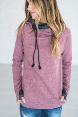 Zipped Neckline Women Hoodie Purple Pink