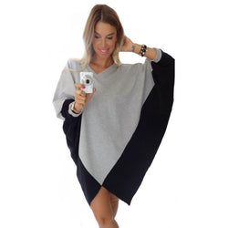 Bat Cape Sweater grey-black/blue-yellow