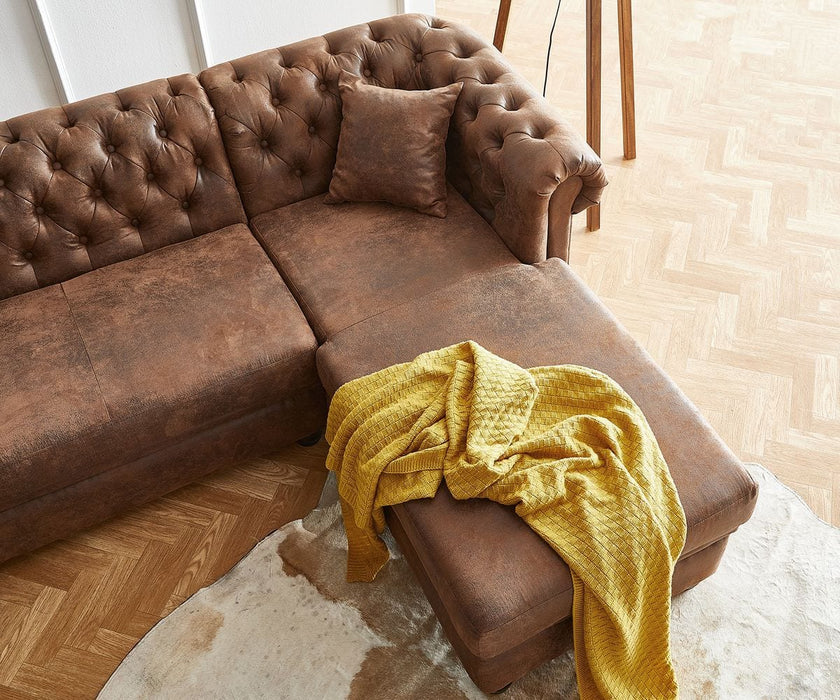 Coltar Chesterfield Brown 209x160 cm