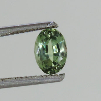 1.3 cts Green sapphire faceted 5 x 7 mm oval Dry Creek, Montana