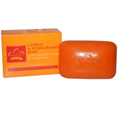 Nubian Heritage Bar Soap Carrot and Pomegranate with Calendula Extract & Cranberries -- 5 oz