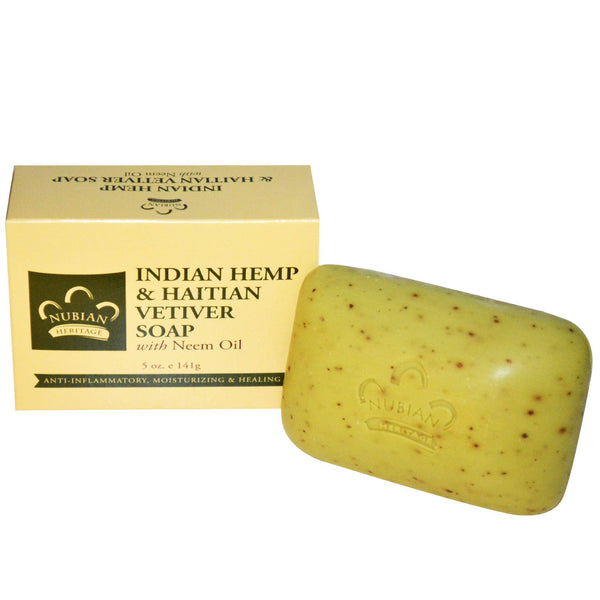 Nubian Heritage Bar Soap Indian Hemp and Haitian Vetiver with Neem Oil -- 5 oz