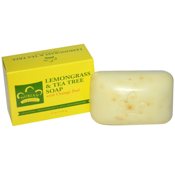 Nubian Heritage Bar Soap Lemongrass and Tea Tree with Orange Peel -- 5 oz
