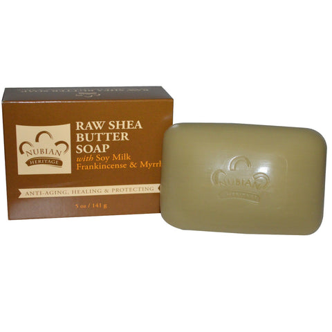 Nubian Heritage Bar Soap Raw Shea Butter with Soy Milk, Frankincense & Myrrh -- 5 oz