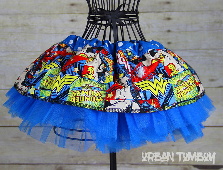 Wonder Woman Kaboom Baby Skirt & Tutu Set