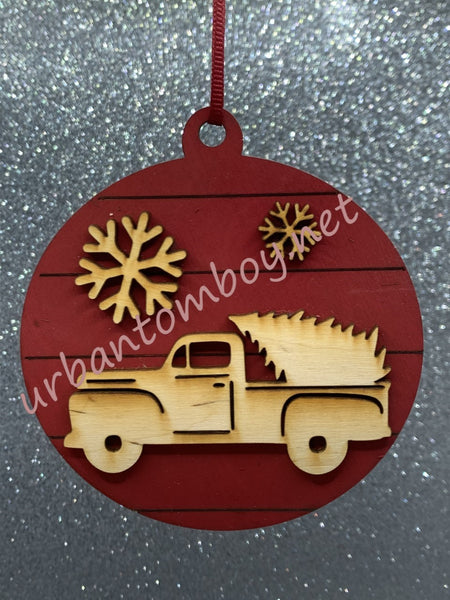 Truck and tree ornament