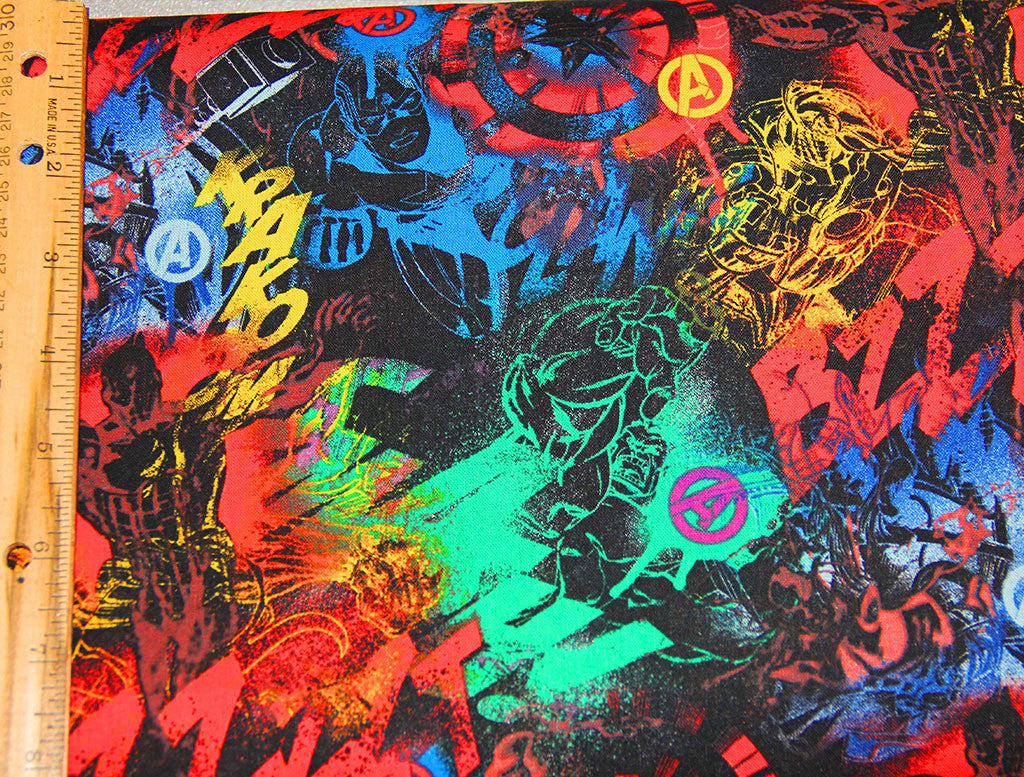 Avengers Grafitti Fabric