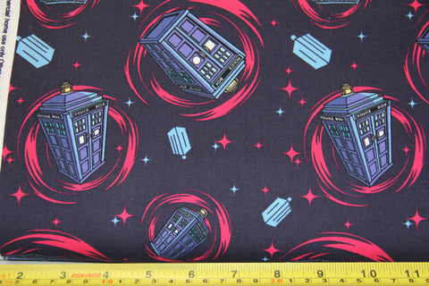 Dr Who Tardis featuring hot pink stars and swirls