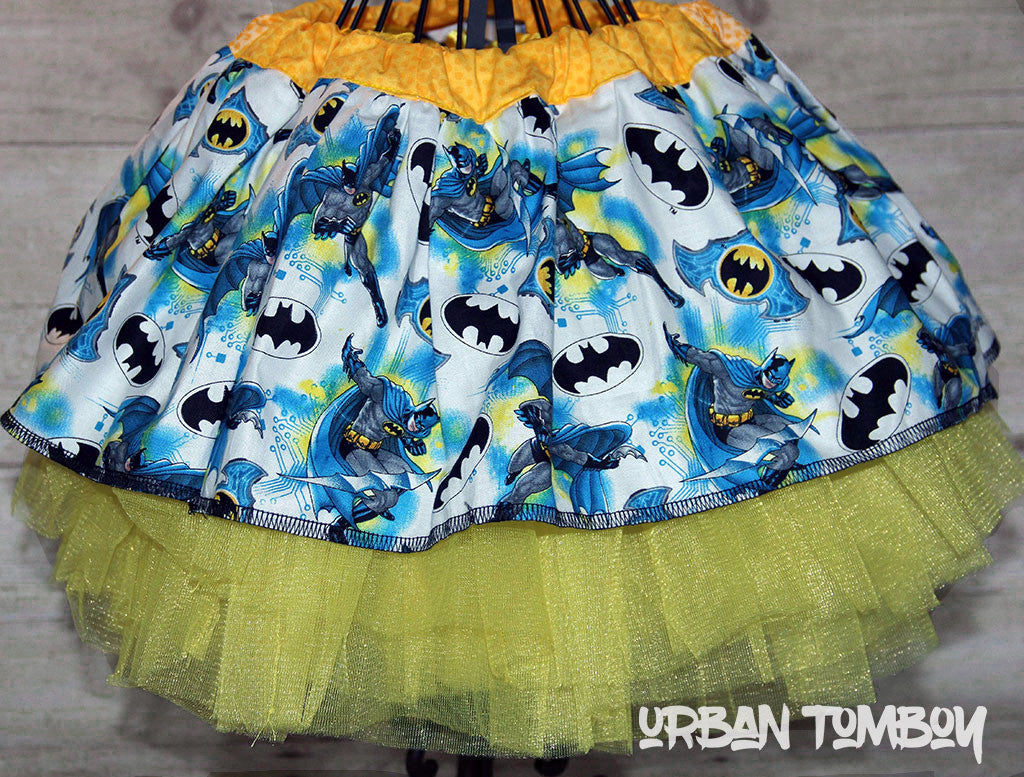 Blue Batman Badge Toss Skirt & Tutu Set
