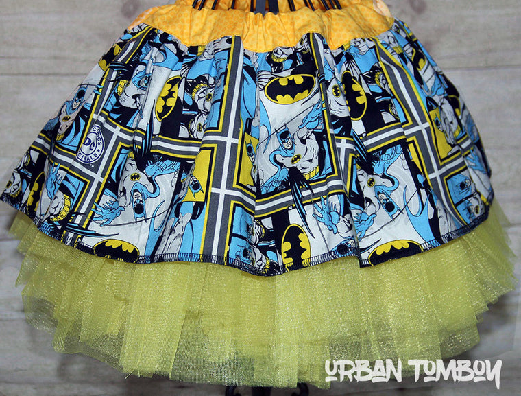 Batman Comic Book Strip Skirt & Tutu Set
