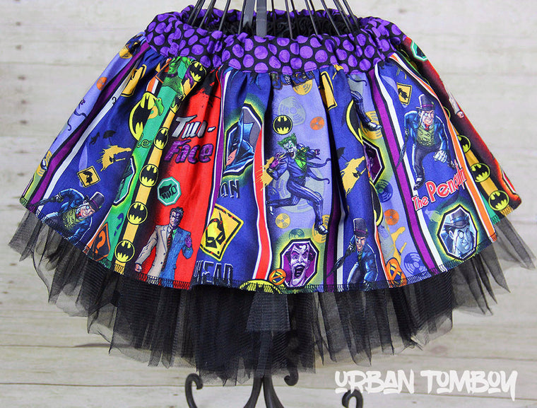 Batman Villian Stripes Skirt & Tutu Set