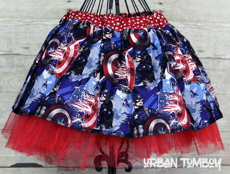 Captain America With Shield Sparks Skirt & Tutu Set