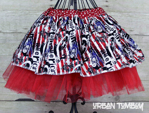 Captain America With Stripes Skirt & Tutu Set