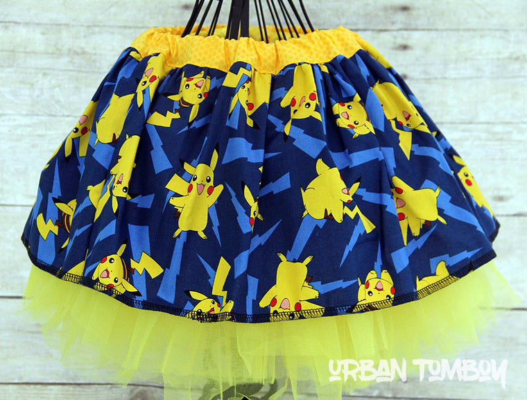Pikachu Blue & Lightening Bolts Skirt & Tutu Set