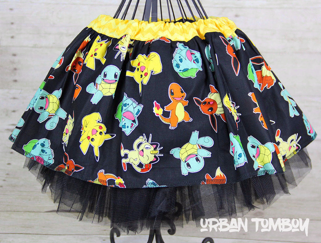 Pokemon On Black Skirt & Tutu Set