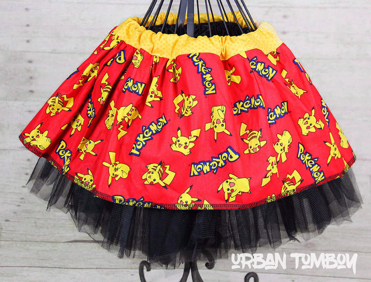 Pikachu On Red Skirt & Tutu Set