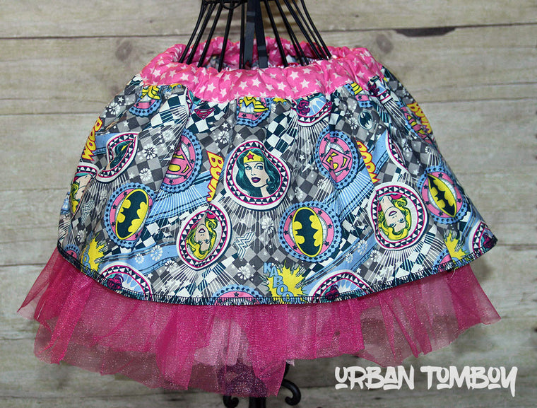 Supergirls On Grey With Checkers Skirt & Tutu Set