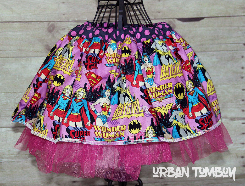 Pink Supergirls Skirt & Tutu Set
