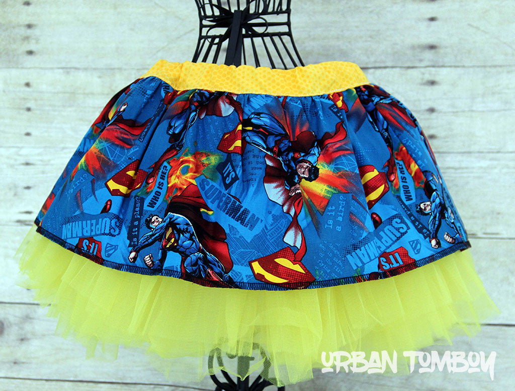 Blue Superman Skirt & Tutu Set