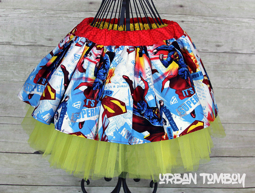 White Superman Skirt & Tutu Set