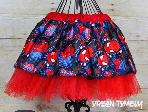 Spider-man With Stars On Black Skirt & Tutu Set