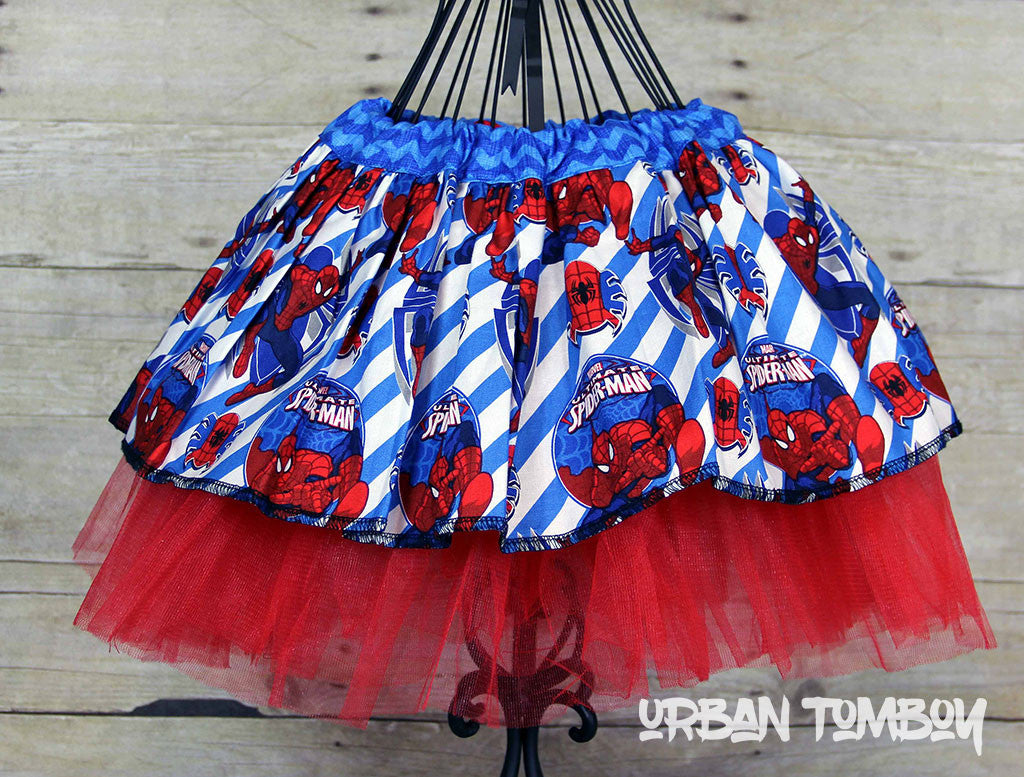 Spider-man With Blue Candy Stripes Skirt & Tutu Set