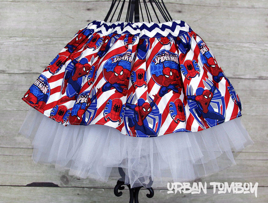 Spider-man With Red Candy Stripes Skirt & Tutu Set