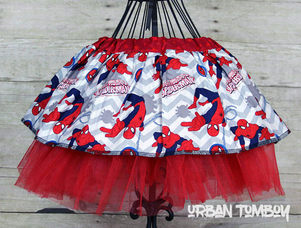 Spider-man With Grey Chevron Stripes Skirt & Tutu Set