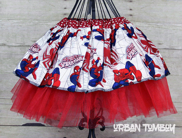 Spider-man On White Skirt & Tutu Set