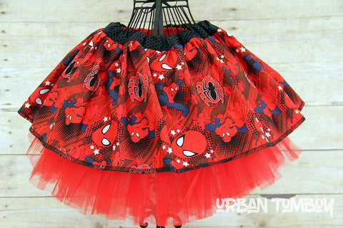 Red Spider-man With Stars Skirt & Tutu Set