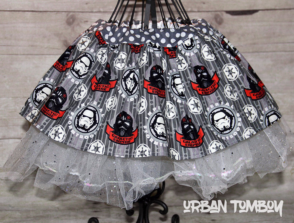 Star Wars Grey Glow Trooper Helmets Galactic Skirt & Tutu Set