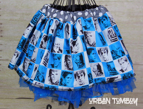 Star Wars Grey Blue & White Hero Squares Skirt & Tutu Set