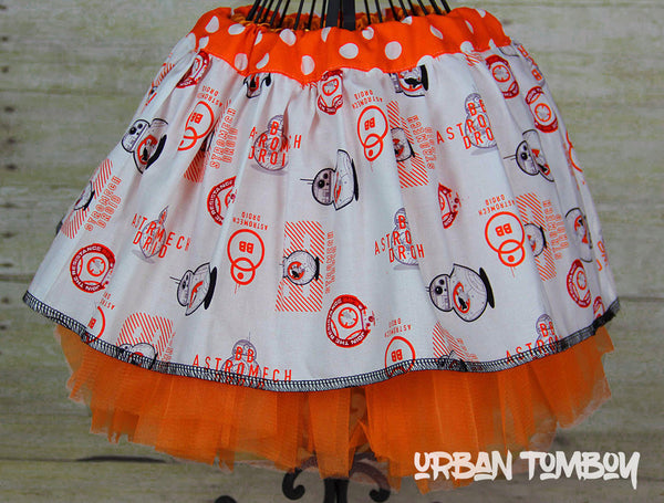 Star Wars Force Awakens BB-8 White Skirt & Tutu Set