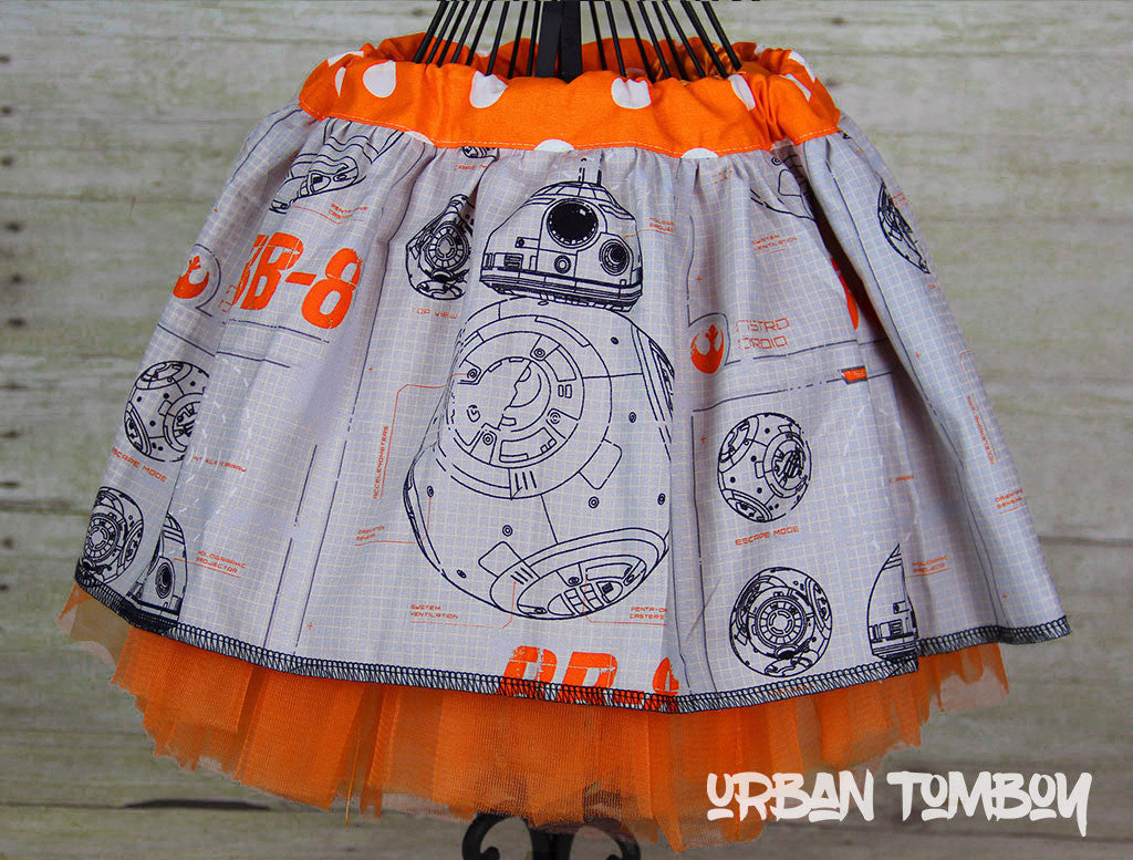 Star Wars Force Awakens BB-8 Grey Skirt & Tutu Set