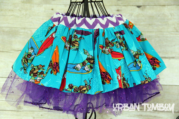 Turquoise Surfing Ninja Turtles Skirt & Tutu Set